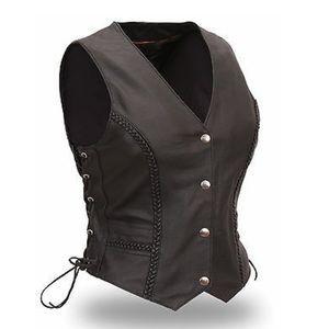 First Classic Biker Braided Women XXL Leather Vest